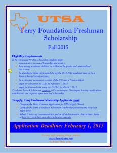 Terry Foundation Freshman Scholarship Application Deadline