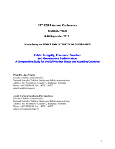 32nd EGPA Annual Conference Public Integrity, Economic Freedom