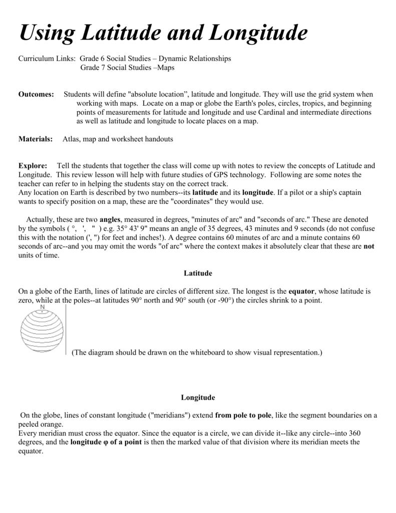 Workbooks longitude and latitude worksheets 6th grade : Globe maps and lines of latitude worksheet