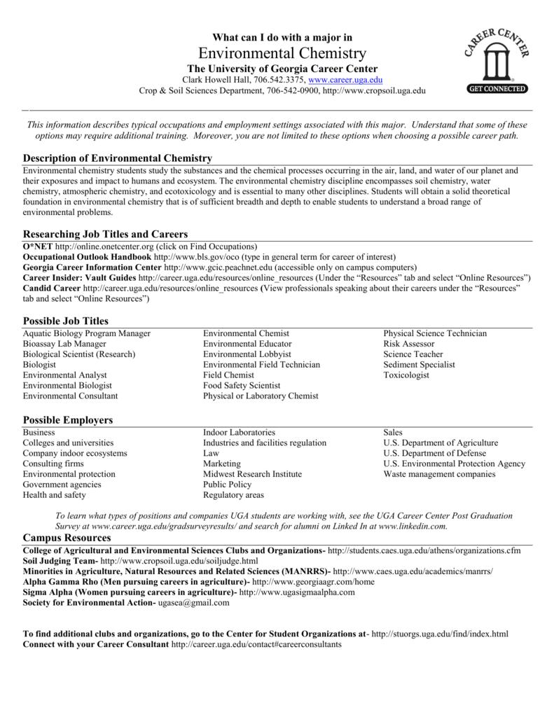 Environmental Chemistry - UGA Career Center