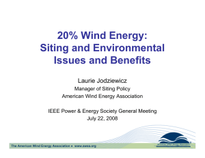 20% Wind Energy: Siting and Environmental Issues and