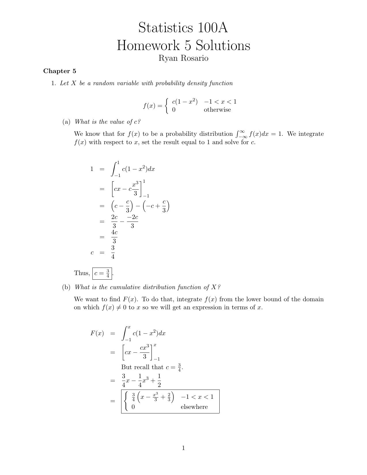 statistics 100a homework 4 solutions