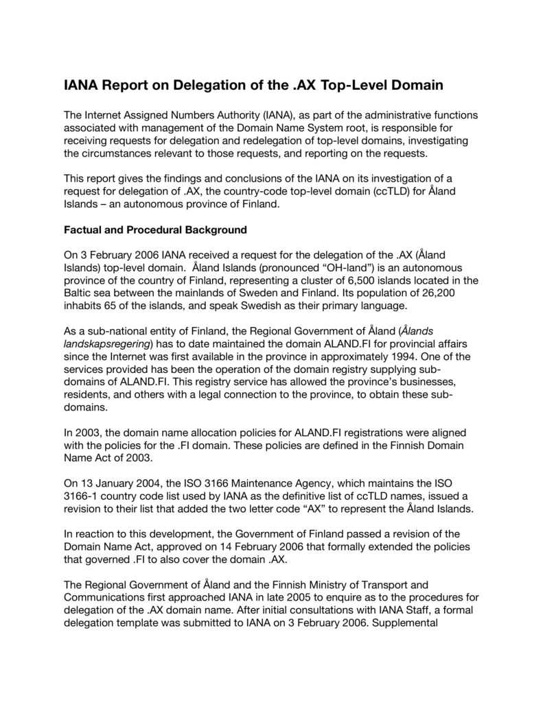 iana report on delegation of the .ax top-level domain