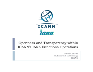 Openness and Transparency within ICANN's IANA Functions