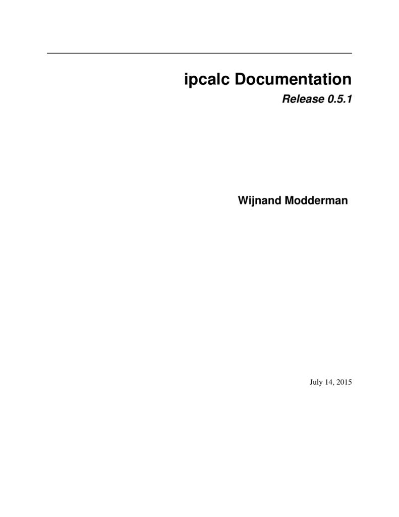 ipcalc Documentation