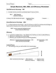 Simple Machines, IMA, AMA, and Efficiency Worksheet