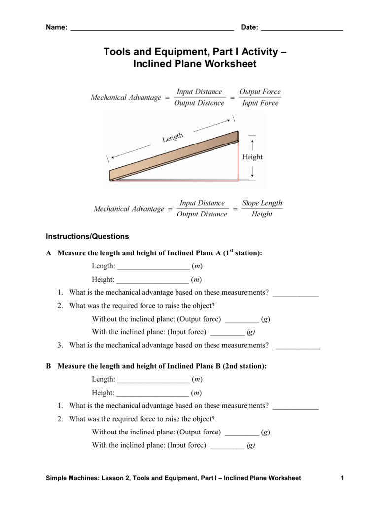 worksheet Inclined Plane Worksheet tools and equipment part i activity inclined plane worksheet