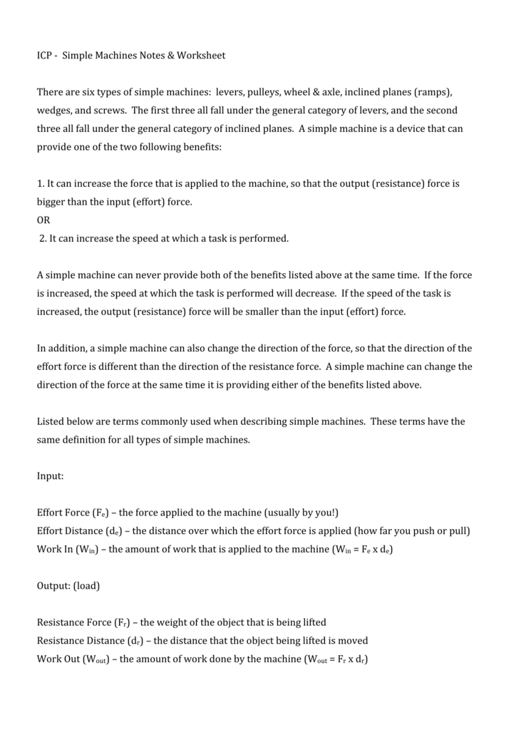 Icp Simple Machines Notes Worksheet There Are Six Types Of
