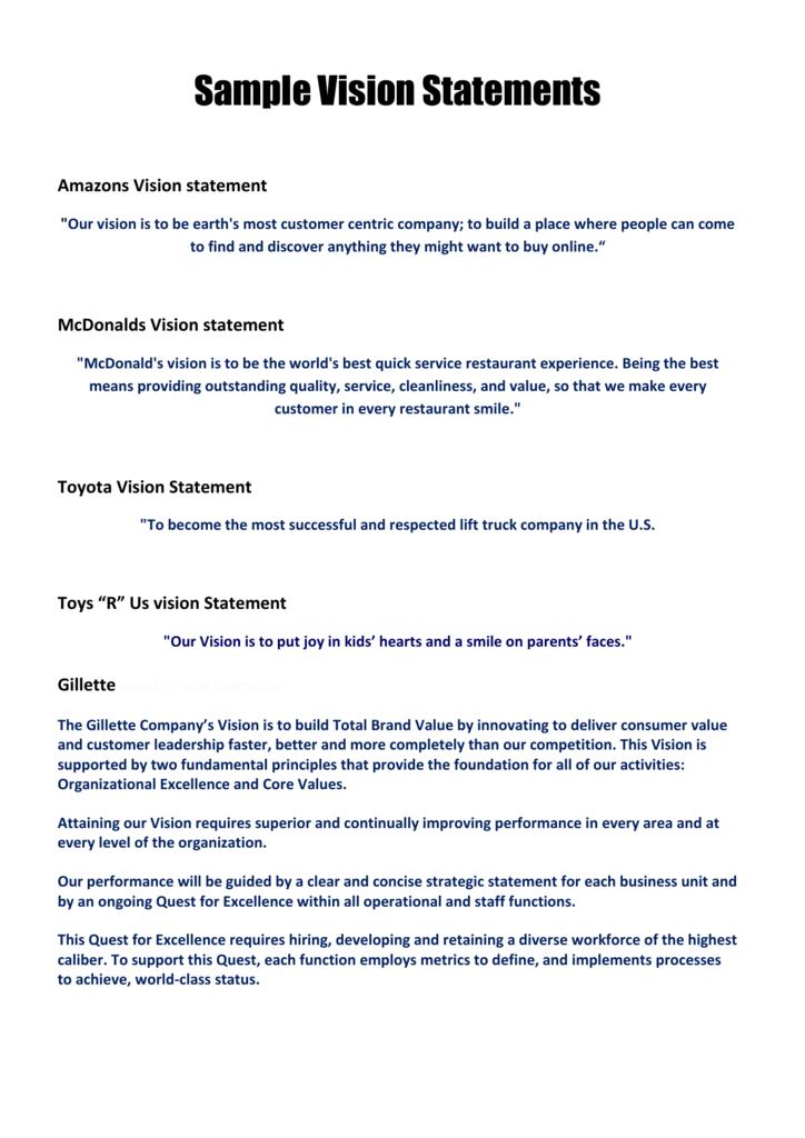 Sample vision statements members area builders profits.