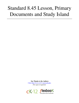 1 Standard 8.45 Lesson, Primary Documents and Study Island