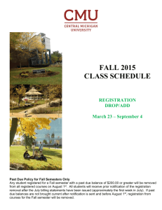 FALL 2015 CLASS SCHEDULE - Central Michigan University