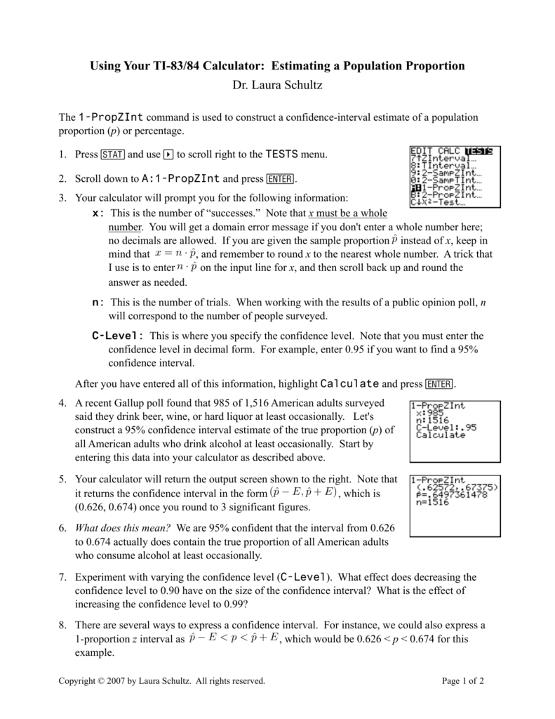 Using Your TI-83/84 Calculator: Estimating a Population Proportion