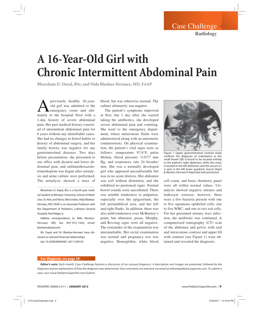 A 16-Year-Old Girl with Chronic Intermittent Abdominal Pain