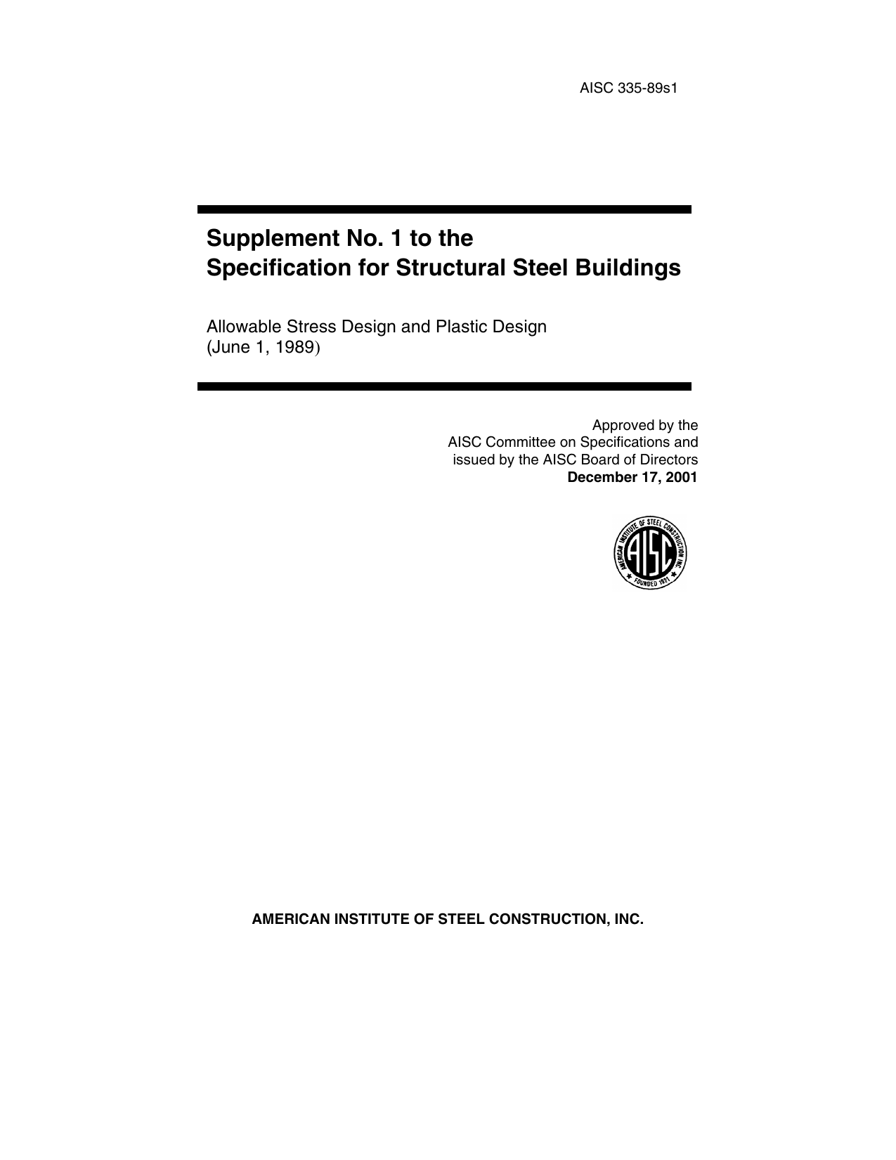 Supplement No  1 to the Specification for Structural