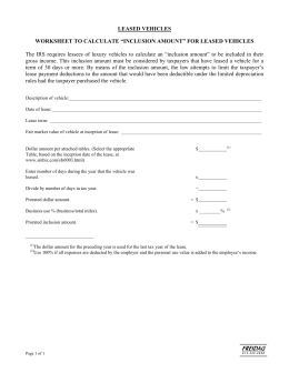 Personal Use Of Company Vehicle Worksheet: use of pany vehicle worksheet,