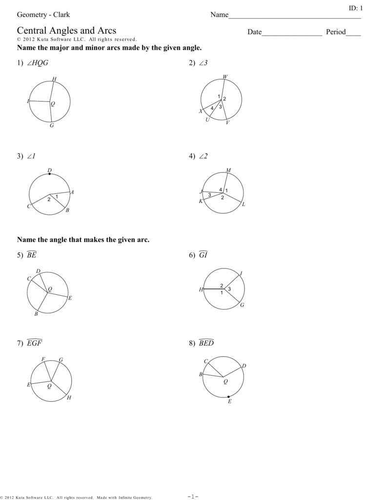 Geometry Clark Central Angles and Arcs – Central Angle Worksheet