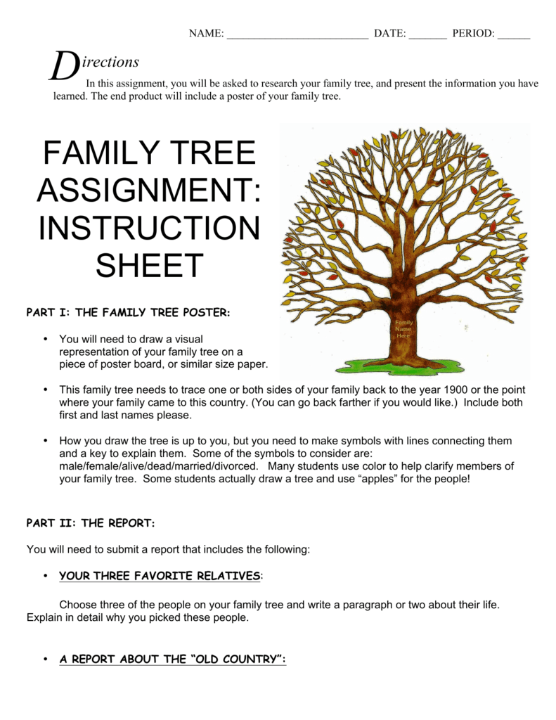 family tree assignment instruction sheet