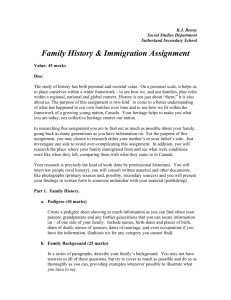 Family History & Immigration Assignment