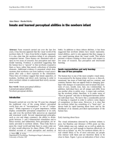 Innate and learned perceptual abilities in the newborn infant
