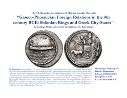 """Graeco-Phoenician Foreign Relations in the 4th century BCE"