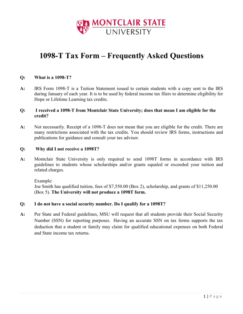 1098 T Tax Form Frequently Asked Questions