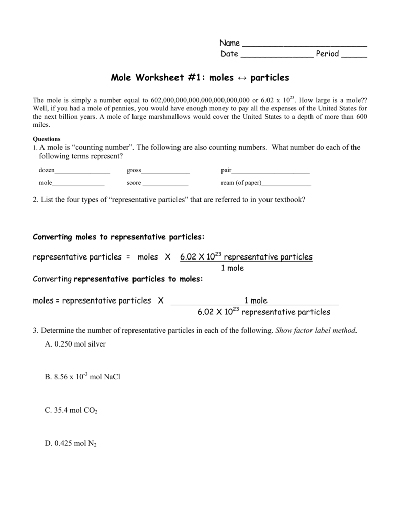 {Mole Worksheet 1 moles particles – Mole Worksheet