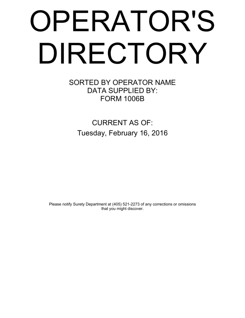 operator directory listing oklahoma corporation commission