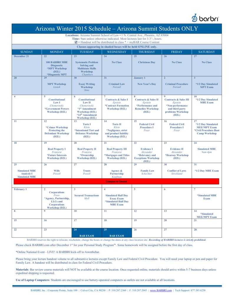 Arizona Winter 2015 Schedule – Arizona Summit Students