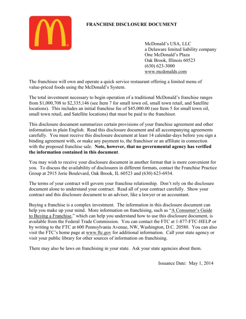 ad44b05348 FRANCHISE DISCLOSURE DOCUMENT McDonald s USA
