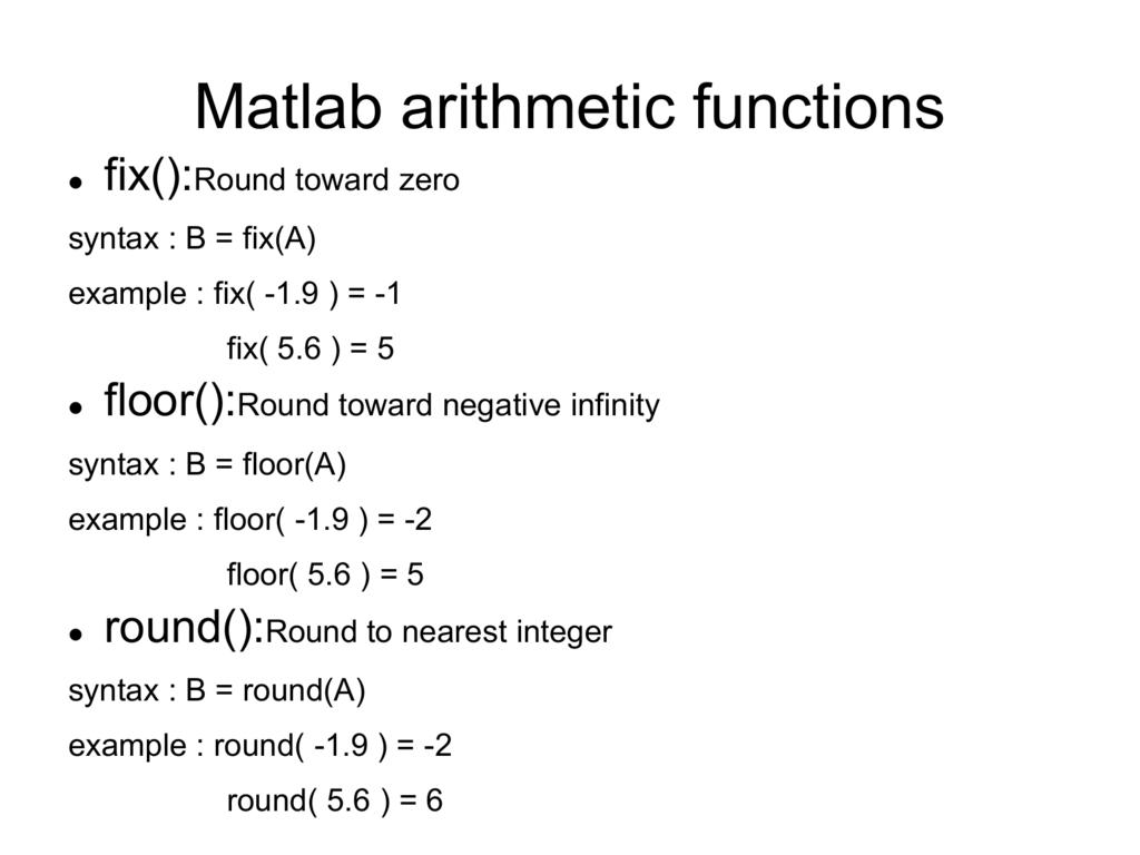 Matlab arithmetic functions