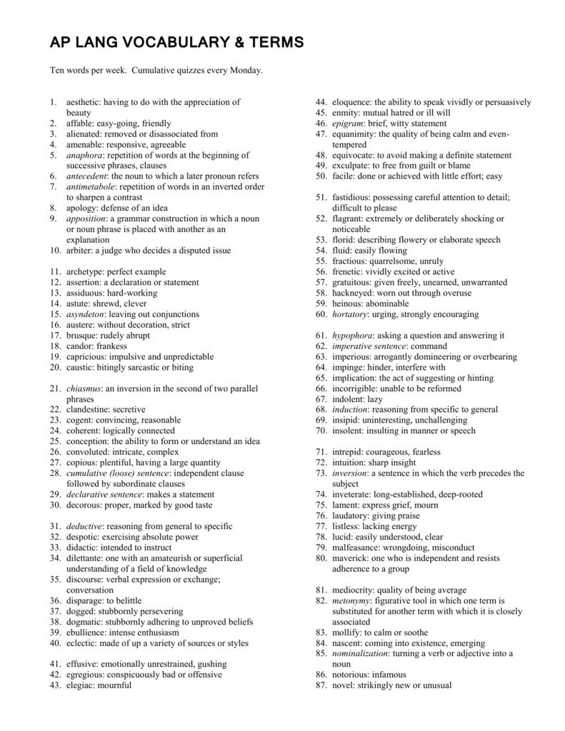 Ap Lang Vocabulary Terms