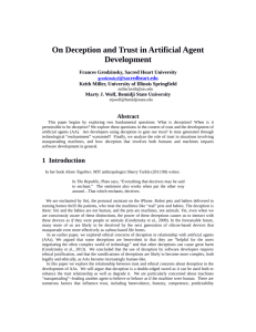 On Deception and Trust in Artificial Agent Development