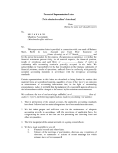 Format of Representation Letter (To be obtained on client's