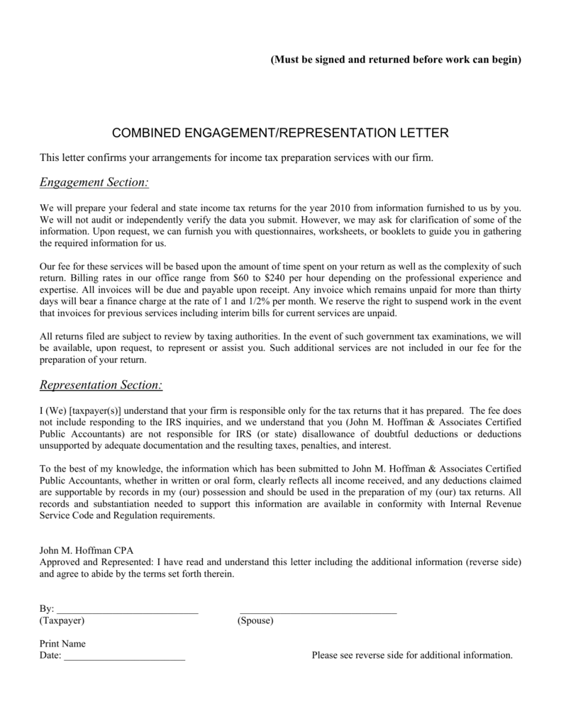 COMBINED ENGAGEMENT/REPRESENTATION LETTER