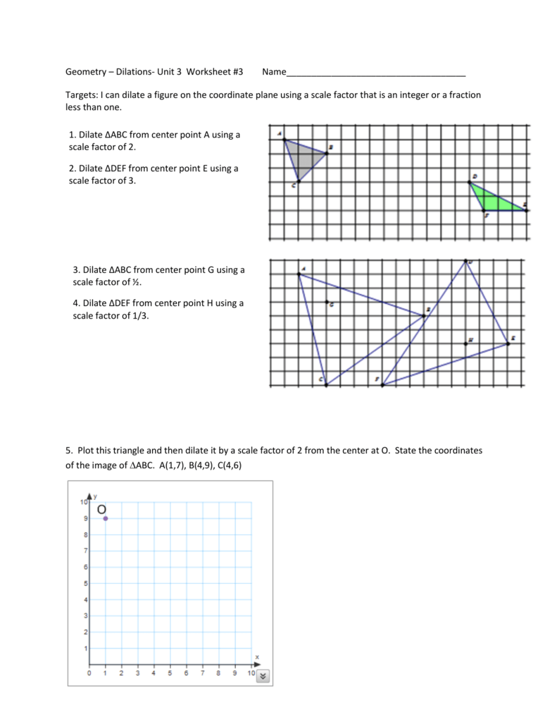 worksheet Geometry Dilations Worksheet geometry dilations unit 3 worksheet 3