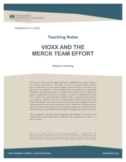 vioxx and the merck team effort