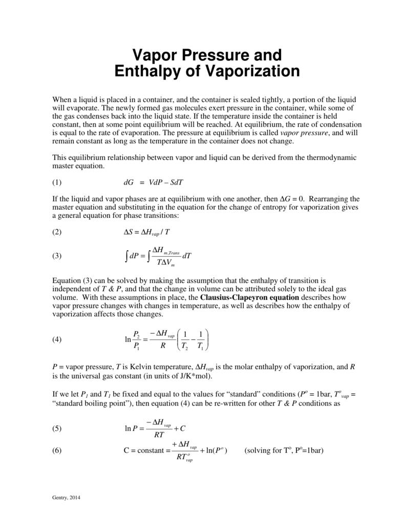 Vapor Pressure and Enthalpy of Vaporization