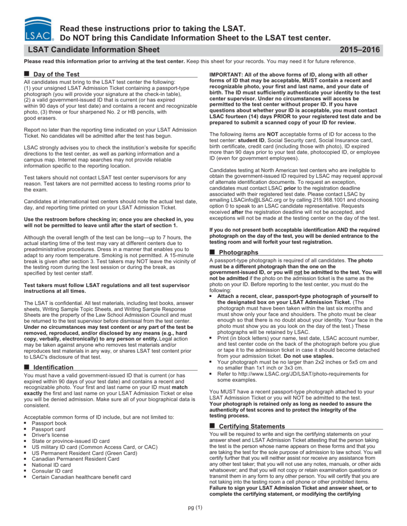 LSAT Candidate Information Sheet