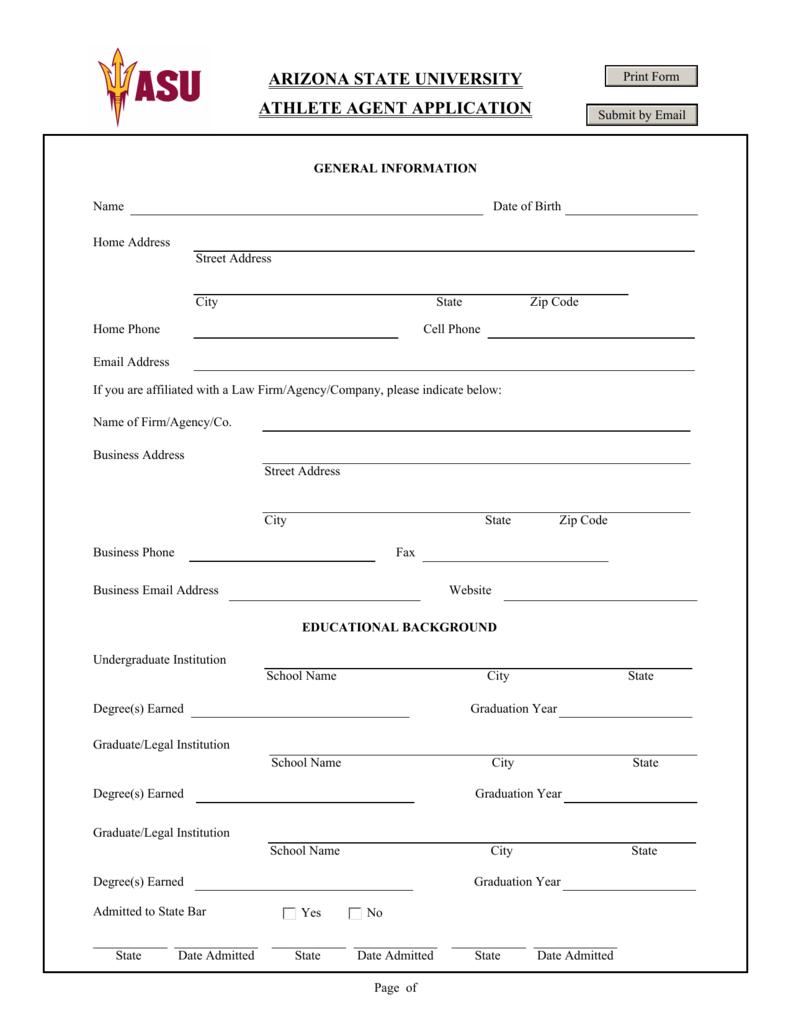 arizona state university athlete agent application