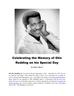 Celebrating the Memory of Otis Redding on his Special Day