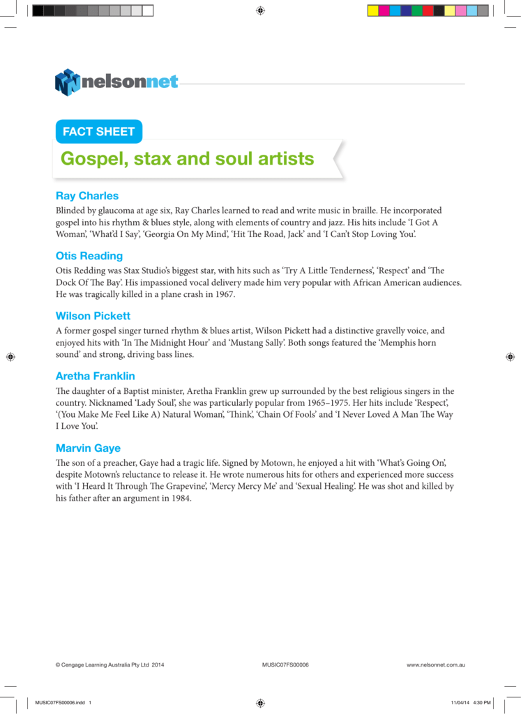 Gospel, stax and soul artists
