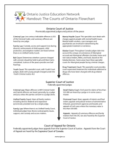 The Courts of Ontario Flowchart - the Ontario Justice Education