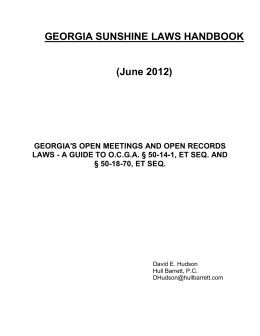 GEORGIA SUNSHINE LAWS HANDBOOK
