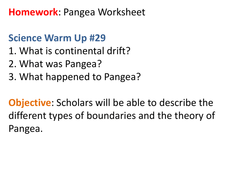 Worksheets Pangea Worksheet homework pangea worksheet science warm up 29 1 what is
