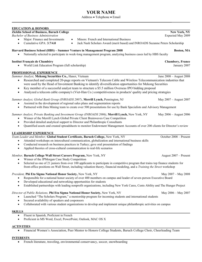 GSC Template resume