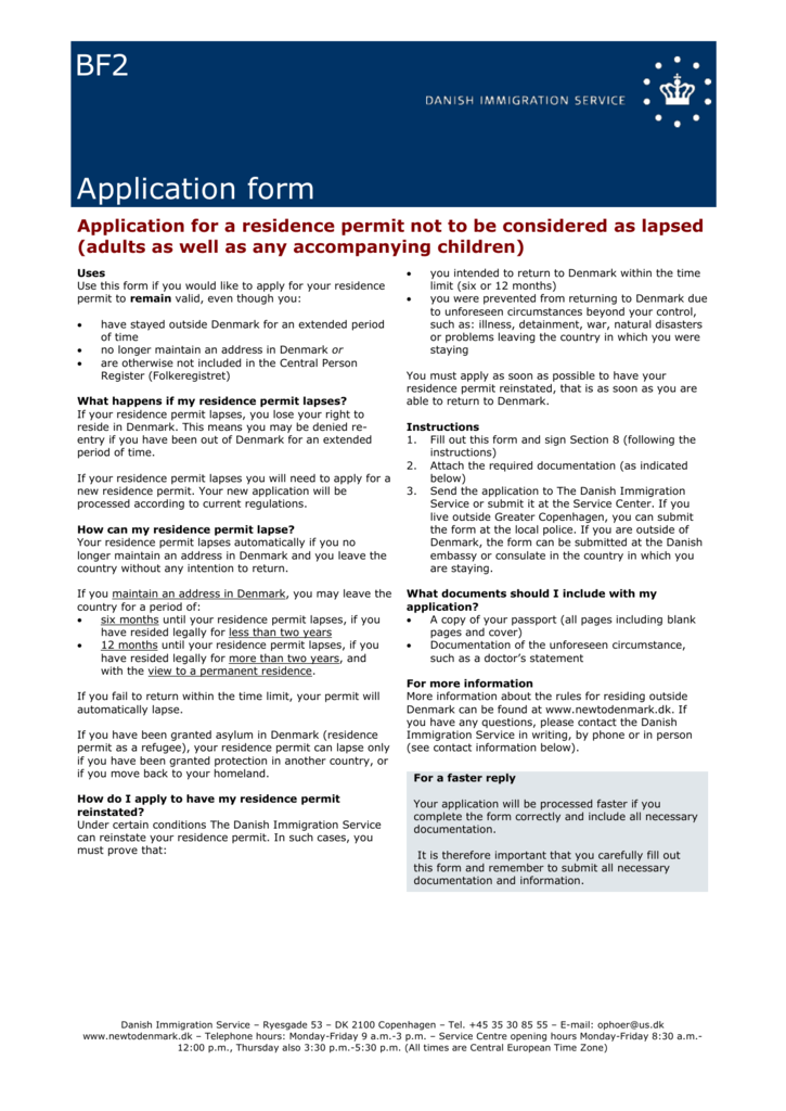 BF2 Application form Application for a residence permit not to be