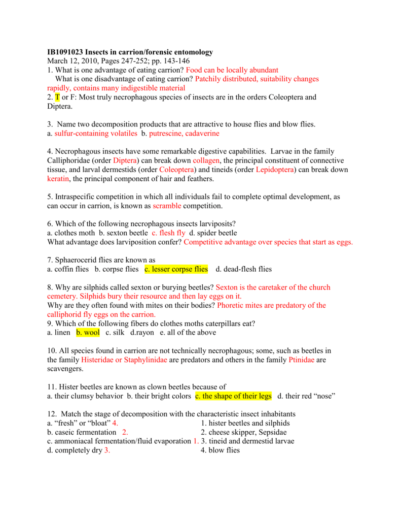 Worksheets Forensic Entomology Worksheet lecture 22