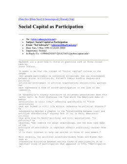 Social Capital as Participation