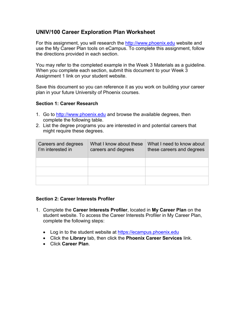 univ  100 career exploration plan worksheet for this assignment