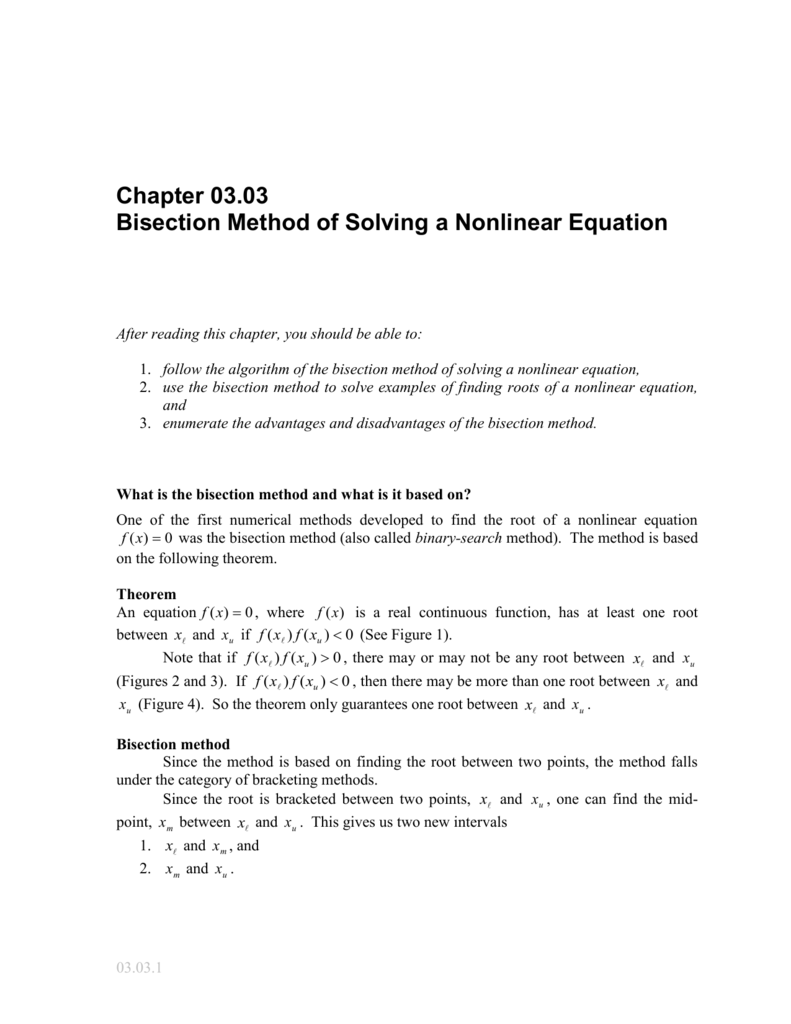 bisection method of solving nonlinear equations